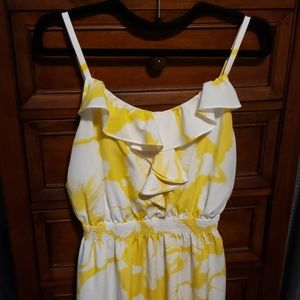 EUC LOFT yellow floral maxi dress